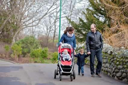 A family walking through the park
