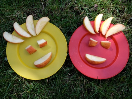 Smiley faces made from apples